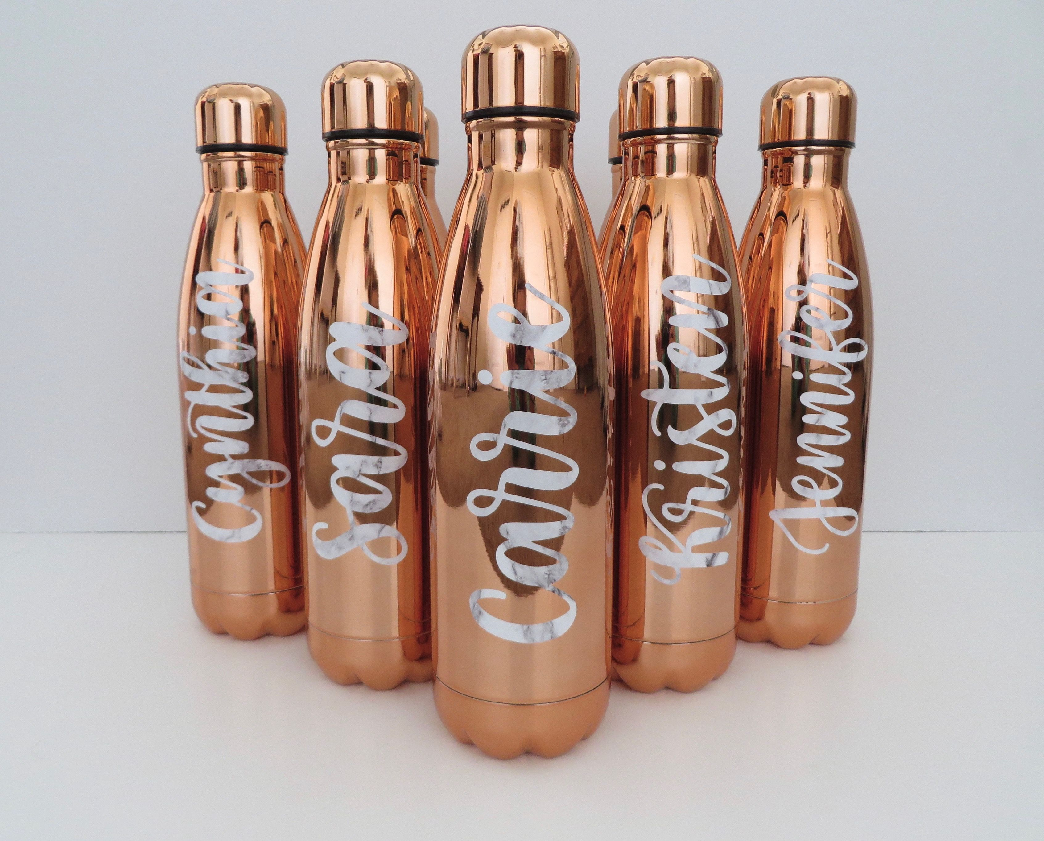 ROSE GOLD & WHITE MARBLE water bottle | stainless steel ...