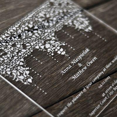 Laser Engraved Acrylic Wedding Invitation Laser Cutting Lab Llc