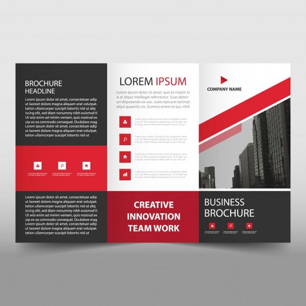 Red Trifold Business Flyer Template Free Vector Brochures Pinterest