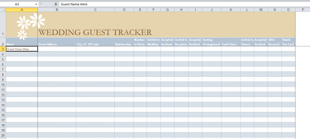 Wedding Guest Tracker Laposh Bridal Perth Planning Pinterest And Free