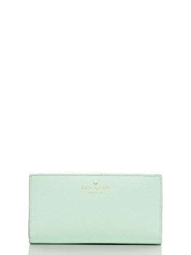 KATE SPADE MIKAS POND STACY LEATHER CLUTCH WALLET Mint Mojito
