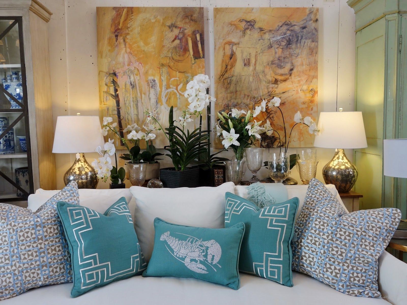 Window decor and more orange beach  pillows make a great room  decorating and architecture  pinterest
