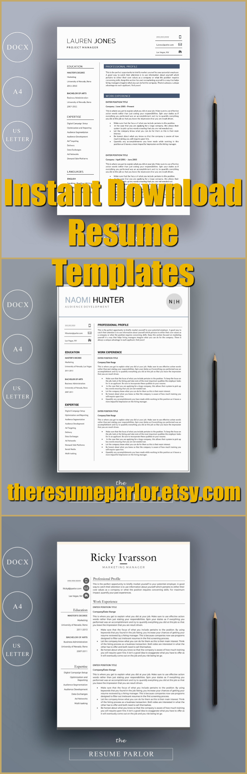 Super easy to fill out resume template for MS Word
