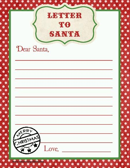 Letter to Santa Free Printable Download Kids Party Craft Idea - printable christmas list template