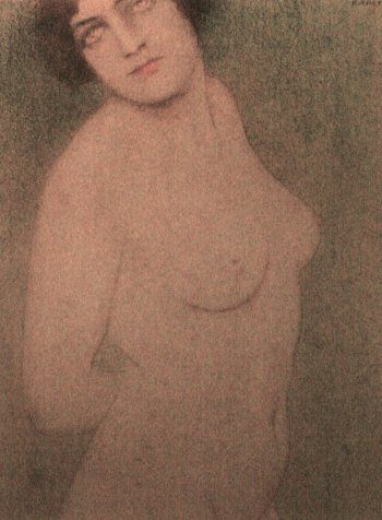 Fernand Khnopff, Nude Study, c.1910, Crayons on paper, 10x 14,6 cm, Private Collection