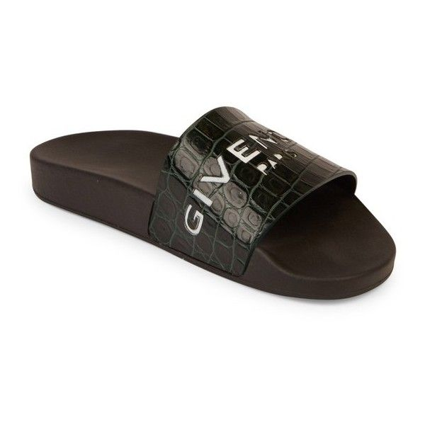 eb634e83bce1 Givenchy Logo Croc-Embossed Leather Slides ( 395) ❤ liked on Polyvore  featuring shoes