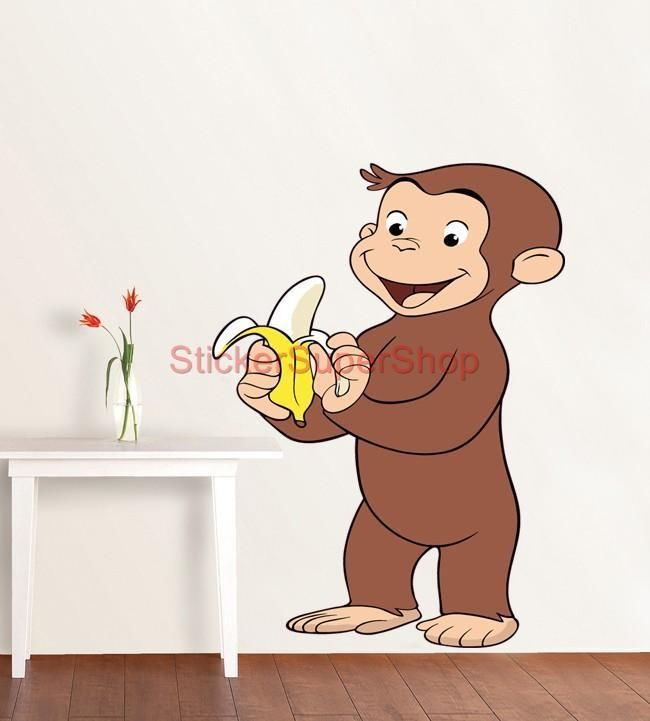 HUGE CURIOUS GEORGE Decal Removable WALL STICKER Decor Mural 90x58 ...