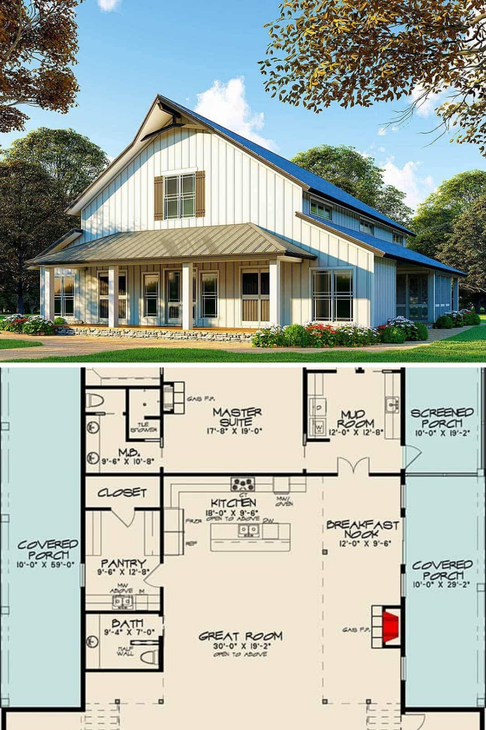 Two-Story 3-Bedroom Barndominium Inspired Country Home (Floor Plan)