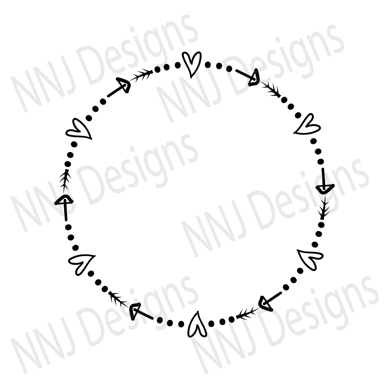 Laurel Wreath Svg Round Circle Monogram Frame Heart Arrow Etsy Monogram Frame Circle Monogram Heart With Arrow