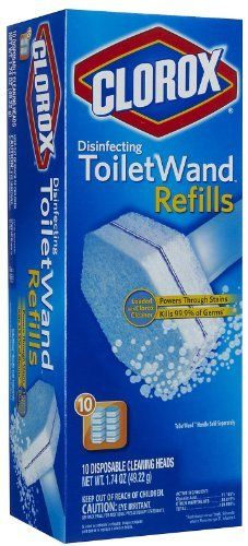 Clorox Toilet Wand Refill, 10 Count by Clorox. $8.09. Clorox toilet wand refill 10 count refill heads can be used with the Clorox disinfecting toilet wand to clean even hard-to-reach areas in your toilet. Each head contains powerful disinfecting cleaners that ensure toilet-hygiene.