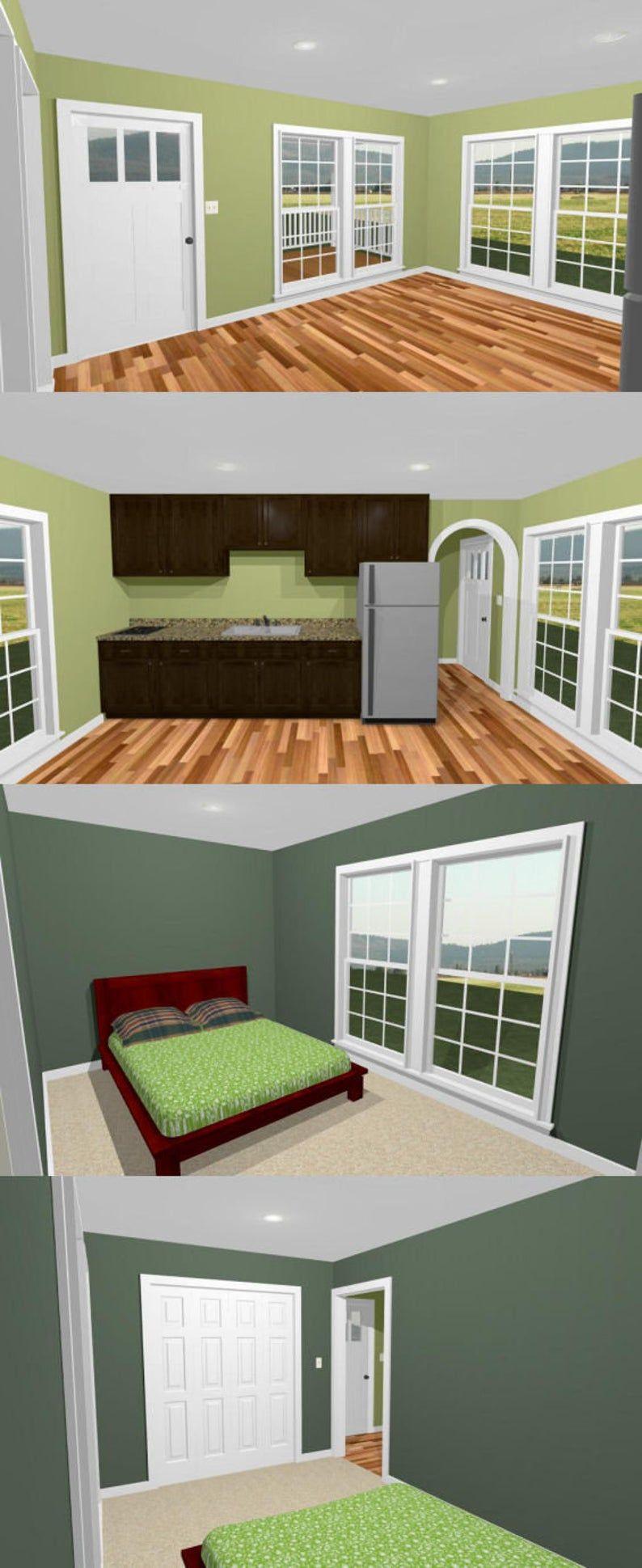 16x28 House 1-Bedroom 1-Bath 447 sq ft PDF Floor Plan ...
