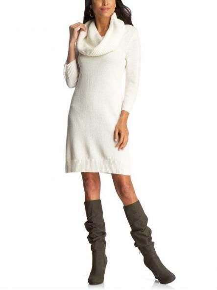 Girls off white sweater dresses