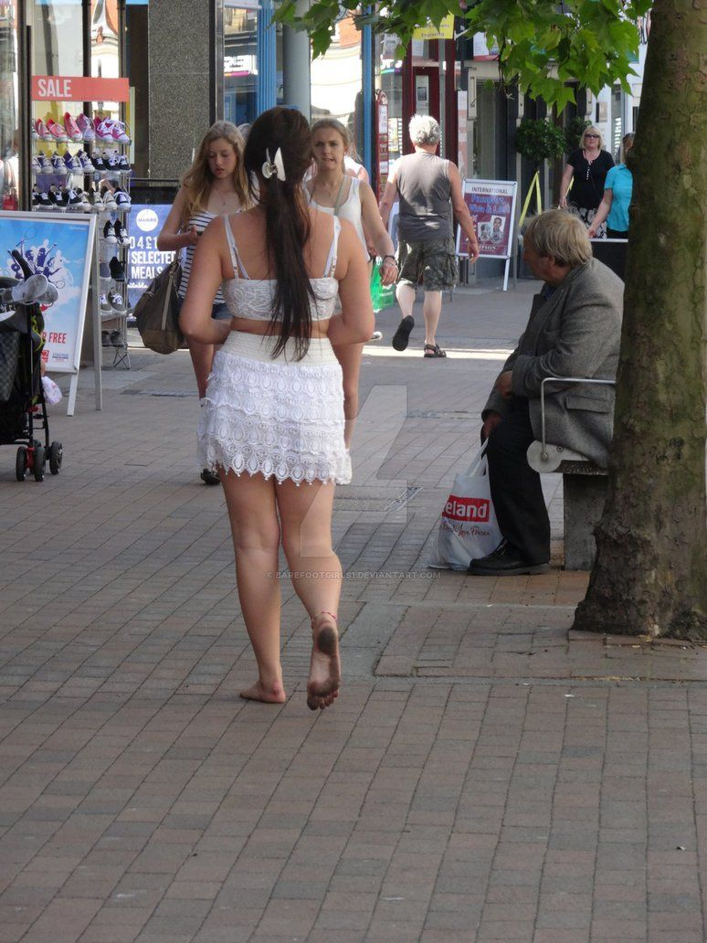 in street Sexy dirty barefeet girls
