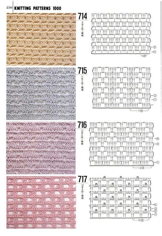 узоры для спиц и крючка | غرز للكروشيه | Pinterest | Croché ...