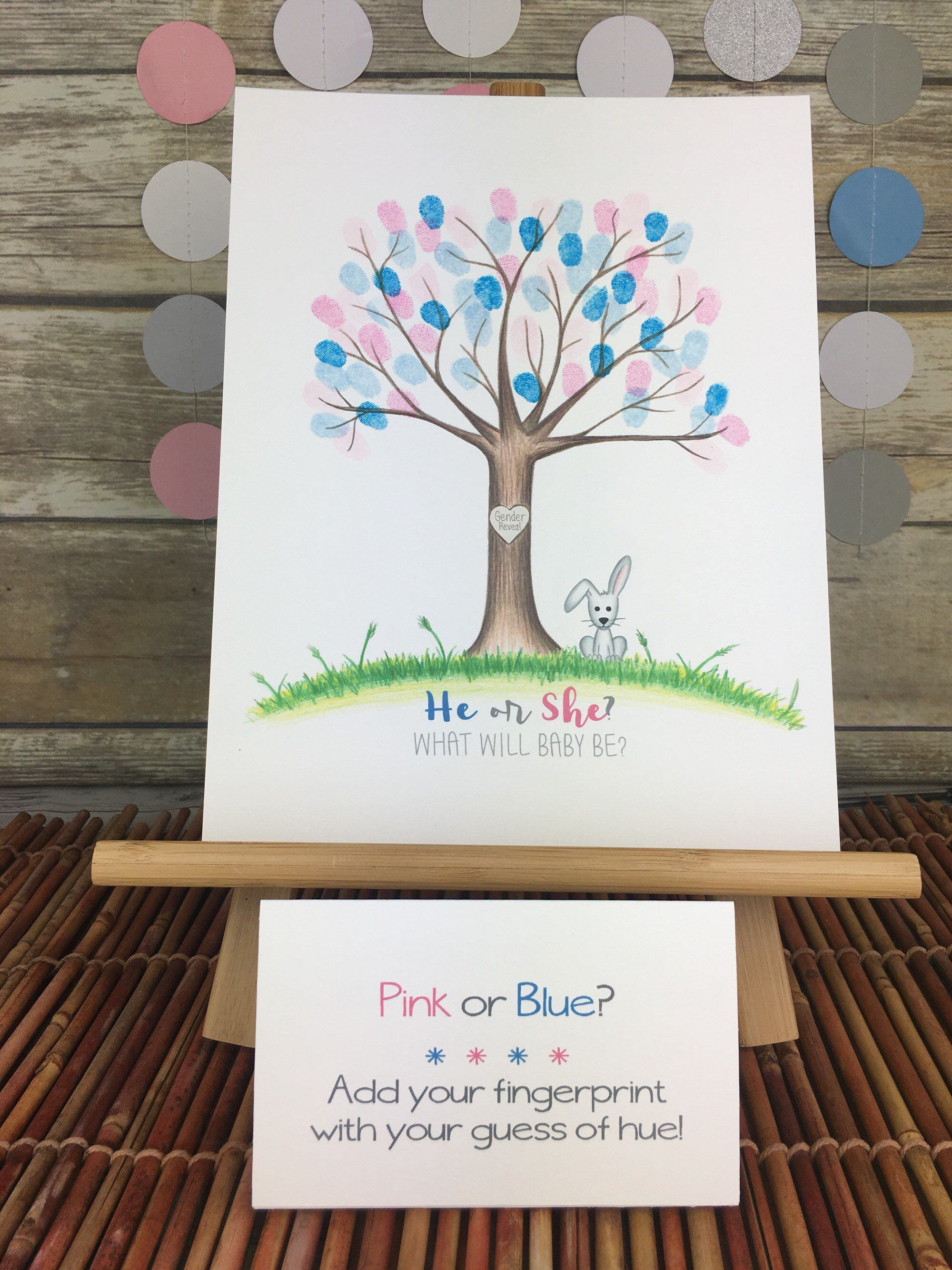 Baseballs or Bows Gender Reveal Party Fingerprint tree with jungle animals