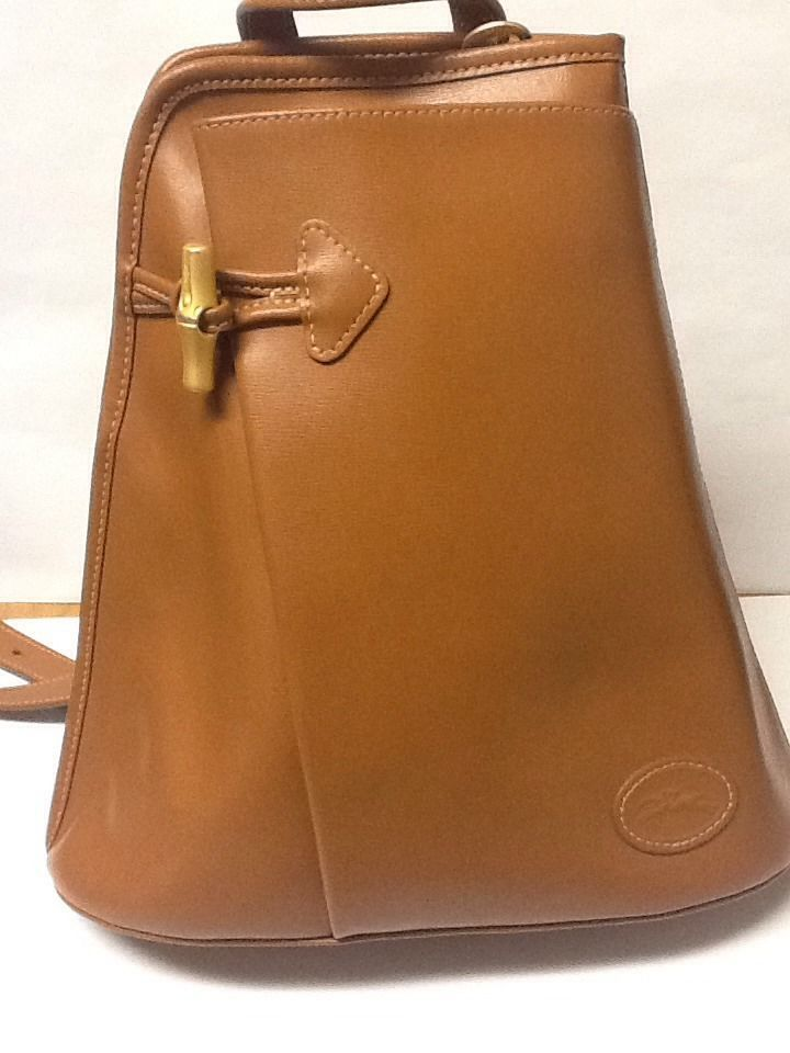 Authentic LONGCHAMP PARIS Leather Backpack Style Purse Handbag Tan Color  Vintage  Longchamp  BackpackStyle 8955ff9b74ba3