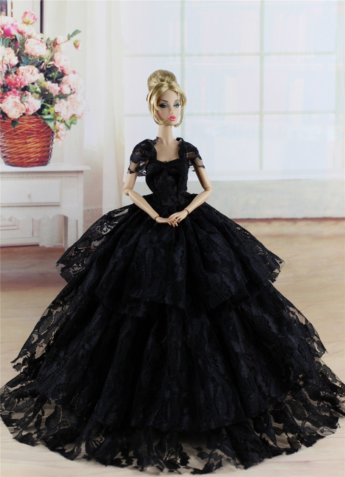 Fashion Royalty Black Princess Dress Gown Clothes For 11 5in Doll C050 Dress Barbie Doll Barbie Gowns Black Princess Dress [ 1600 x 1158 Pixel ]