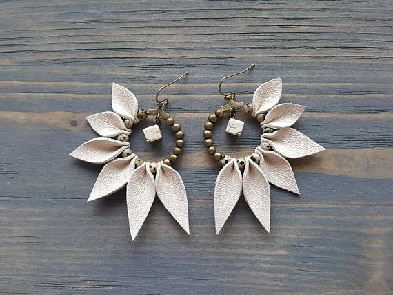Photo of Leather Fringe Earrings, Bohemian Hoop Earrings, Boho Earrings, Leather Earrings, Statement Earrings, Statement Jewelry, Boho Jewelry.