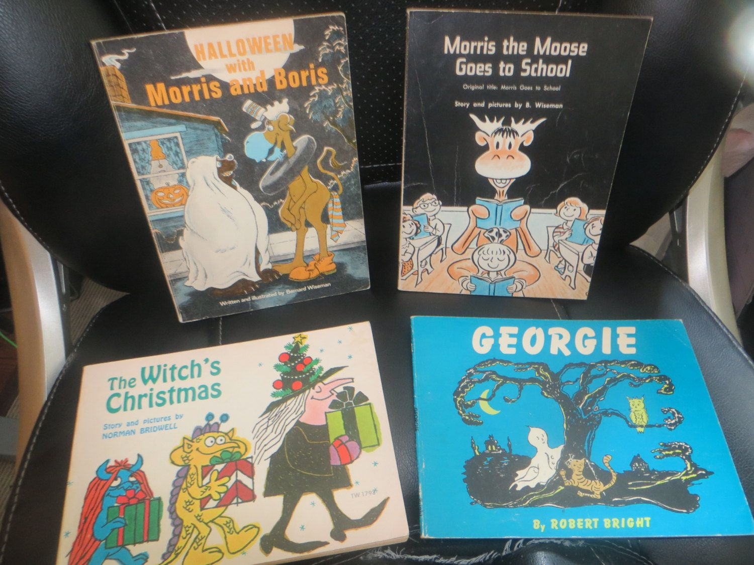 Vintage 70s Lot Children's Scholastic Books Halloween Morris & Boris Morris the Moose Goes to School Witch's Christmas Georgie by HolySerendipity on Etsy