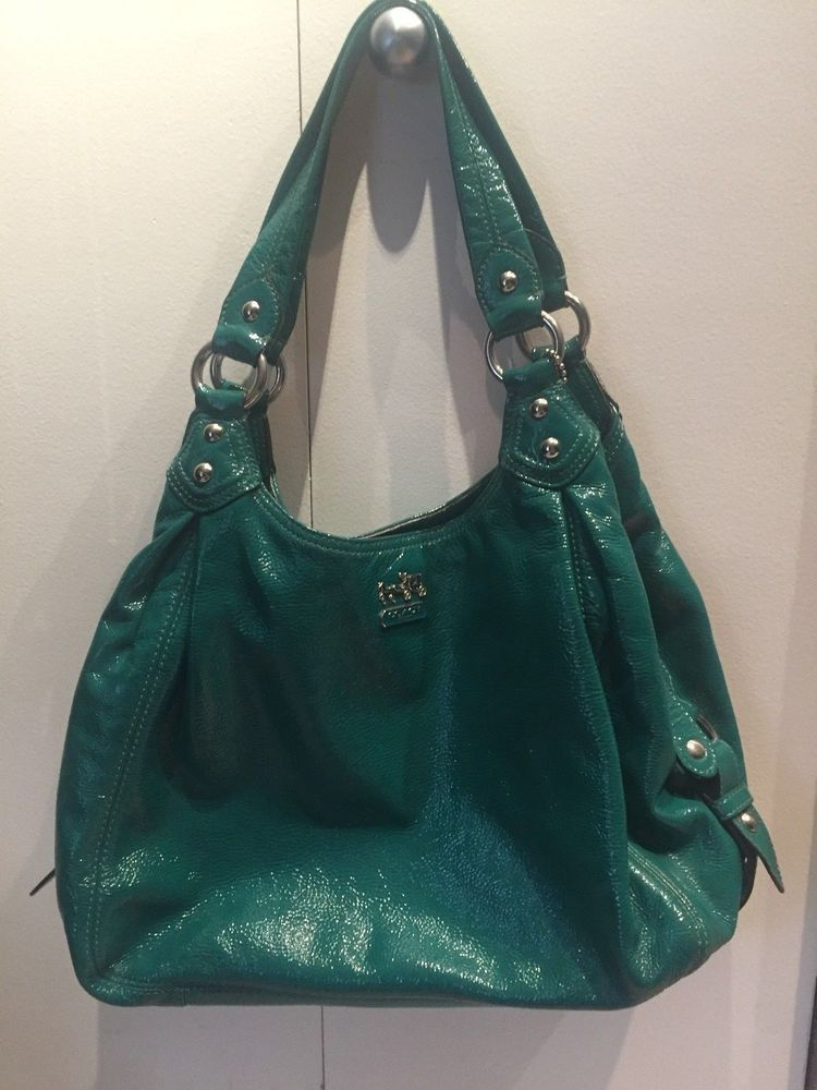b0f863f2b5 COACH Madison Maggie Shoulder Hobo Bag in HARD TO FIND Teal   Emerald  Patent leather color. eBay!