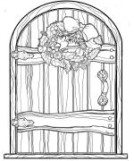 Fairy door christmas fairy door coloring page mixed for Fairy door pattern