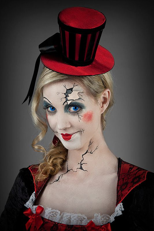 halloween schminktipp broken doll portr t circus pinterest doll makeup um and portrait. Black Bedroom Furniture Sets. Home Design Ideas