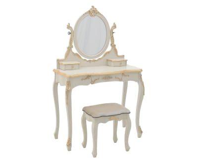 Tocador con espejo y taburete Belle - blanco y dorado | muebles ...
