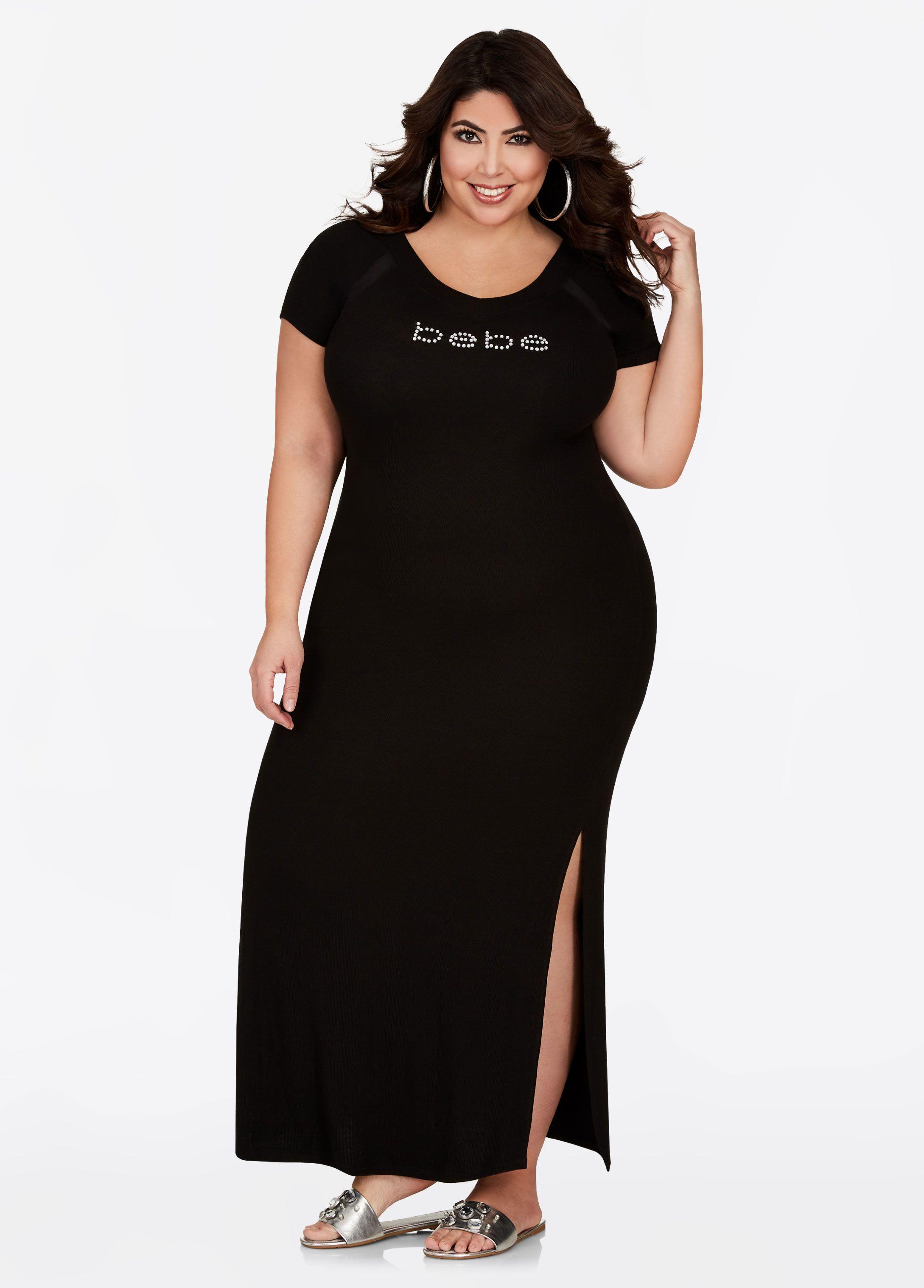 14fd547846218 BEBE V Neck Maxi Dress - Ashley Stewart