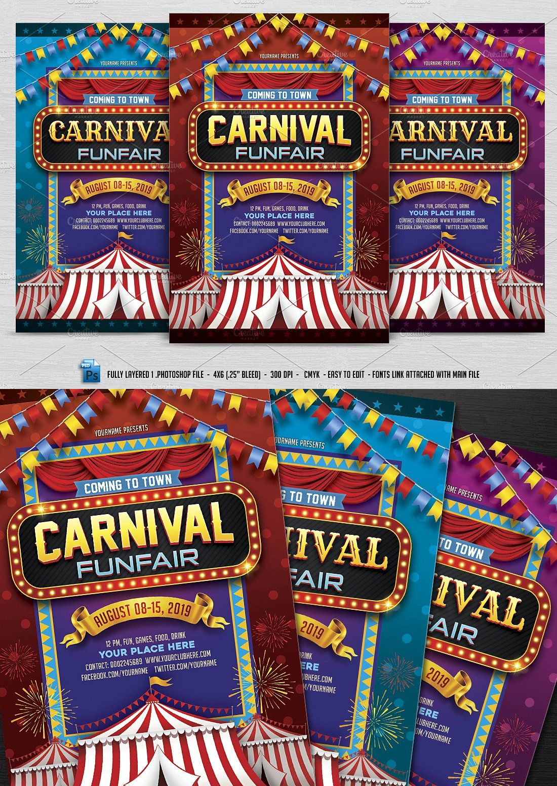 Carnival Flyer Template PSD Halloween party flyer, Flyer