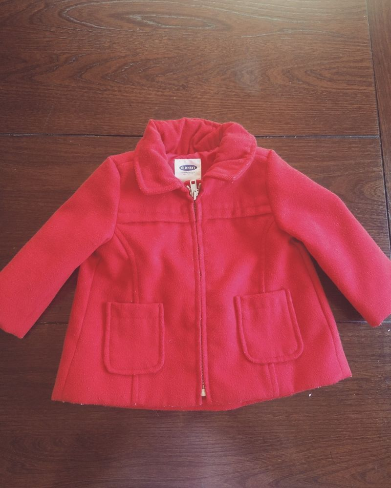 f2b004cce006 Old Navy Baby Infant Girl Red Pea Coat 6-12Months Jacket Zipper Up ...