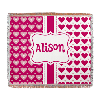 Girly Pink Personalized Woven Blanket