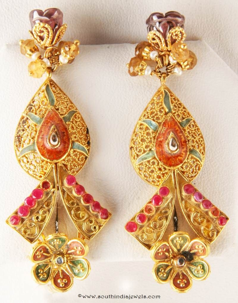 Gold Designer Earrings Designs, Gold Fancy Earrings Designs
