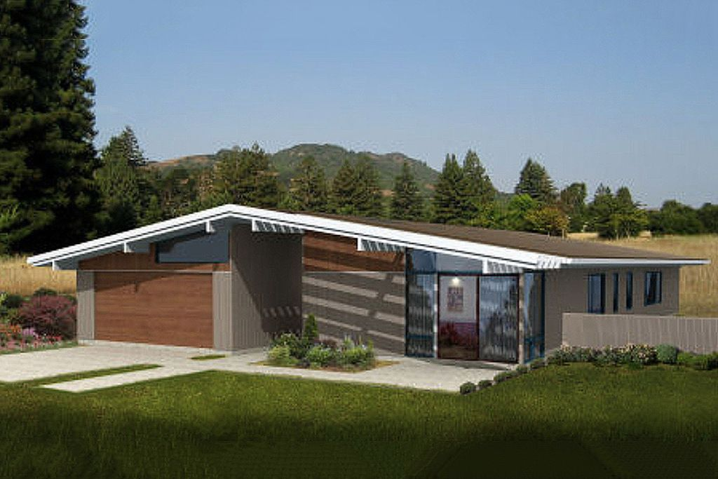 Mid-Century Modern House Plan Contemporary 3 Beds 2 Baths ...