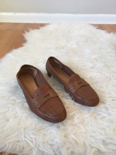29.70$  Watch here - http://vihgb.justgood.pw/vig/item.php?t=unn8kd37251 - Brooks Brothers Brown Leather Woven Loafers Size 7.5