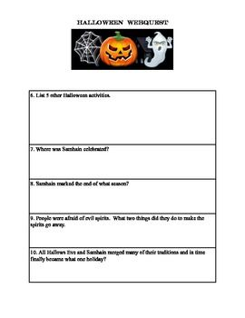 halloween webquest - Halloween Web Quest