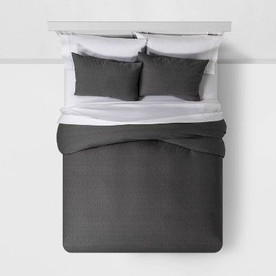 Photo of Full/Queen Family Friendly Solid Duvet & Pillow Sham Set Gray – Threshold