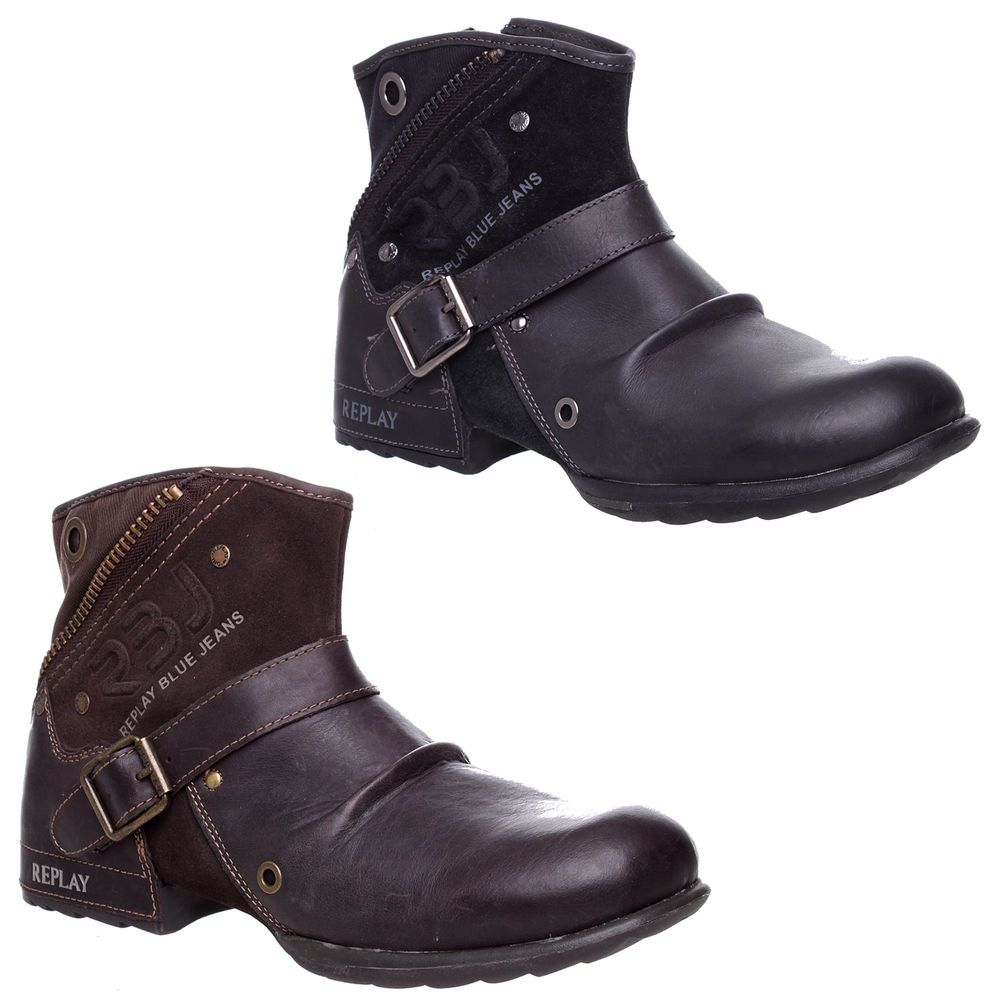 Herren REPLAY LEATHER ZIP UP BUCKLE BIKER COWBOY BUCKLE UP MILITARY ANKLE Stiefel ... e00c9a