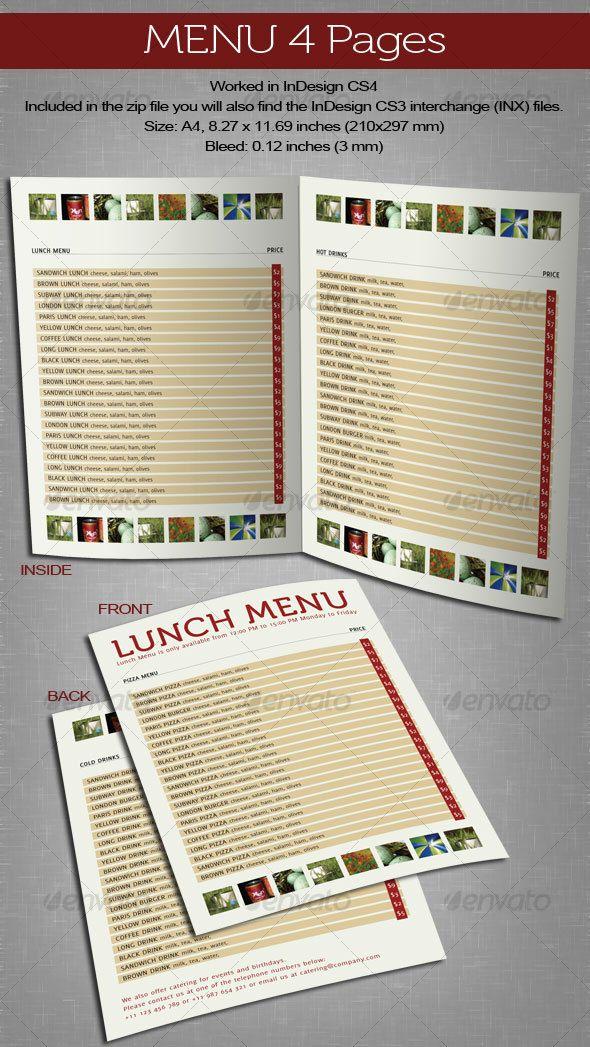menu 4 pages food menu menu templates and food menu template