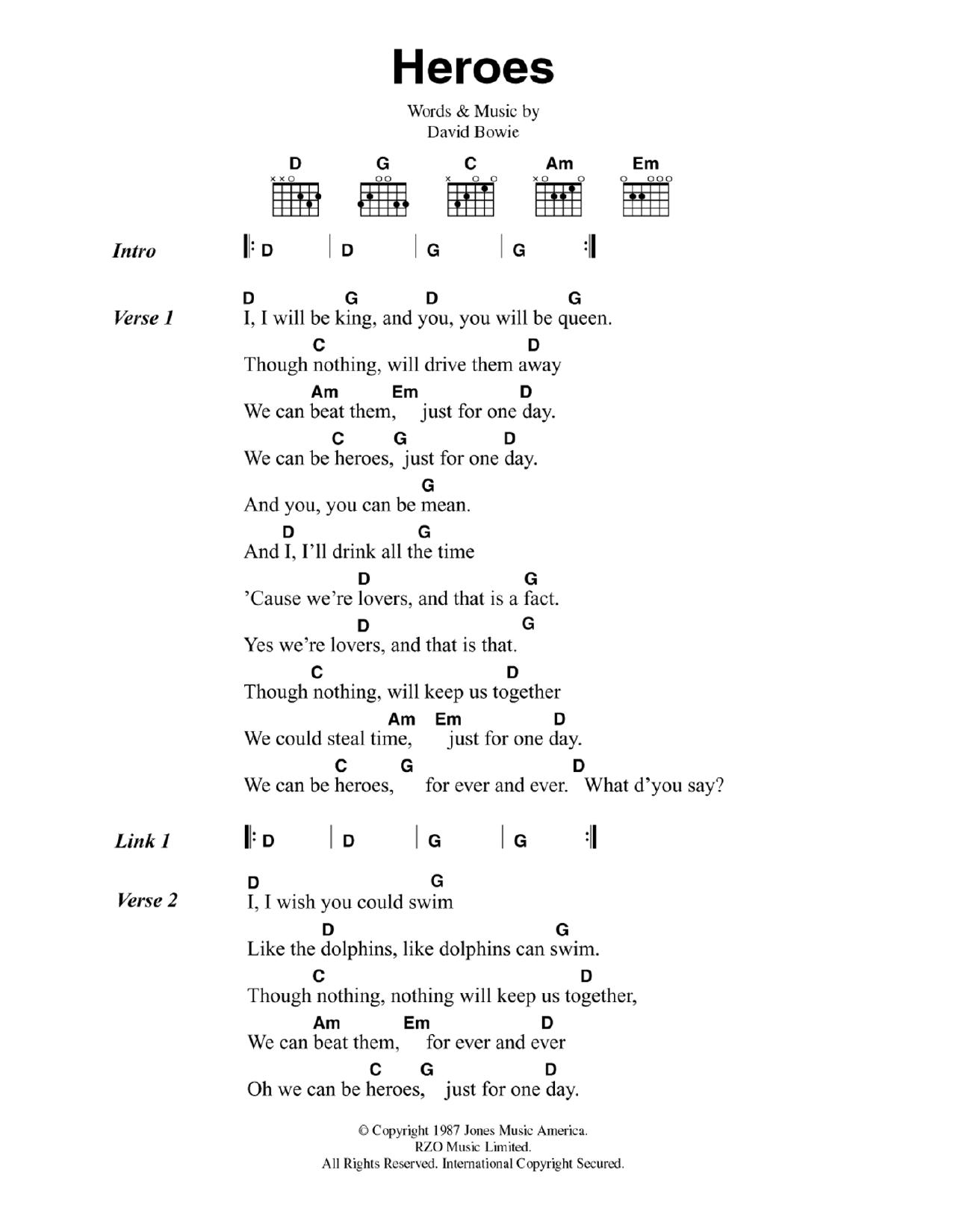 Heroes Sheet Music   David Bowie   Guitar Chords/Lyrics   Guitar ...