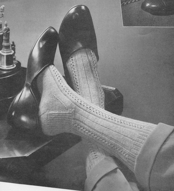 PDF Vintage Funky Mens Socks Knitting Pattern, Mesh Rib Design, PDF ...