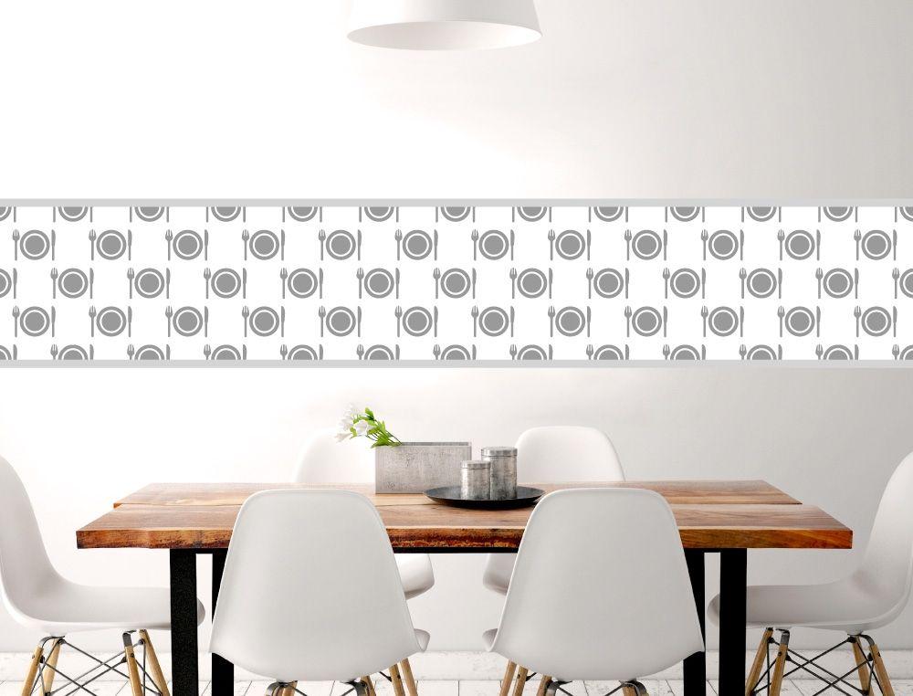 Küchenbordüre Teller und Besteck - I-love-Wandtattoode Küchen