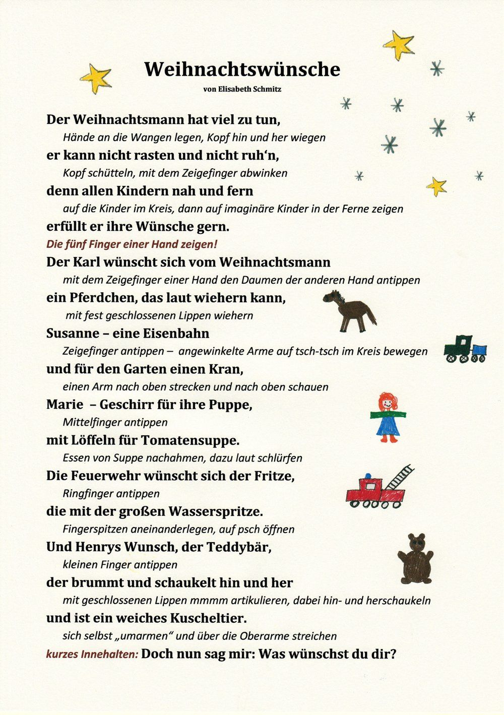 Ein Weihnachtsgedicht mit Bewegungen - KitaKram.de | fingerspiel ...