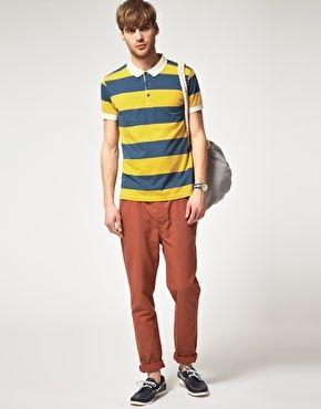 River Island Rugby Stripe Polo Shirt
