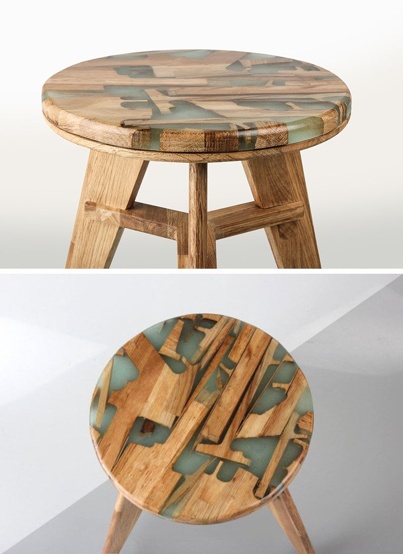Reclaimed teak wood cracked resin side tables youtube - These Designers Made A Stool Using Offcuts Of Wood And Resin