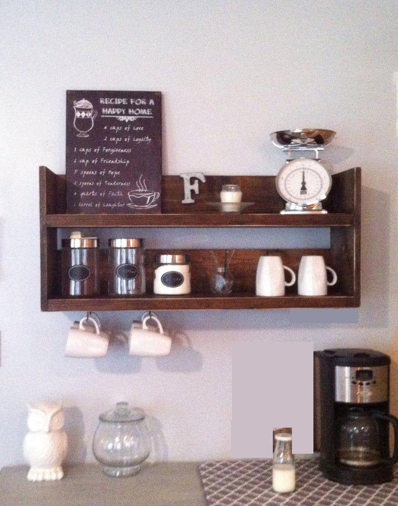 Estante de cocina rústica, café, café bar madera