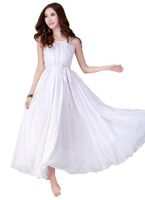 White maxi dress, the flowy material and halter neck are very flattering! Get the look at www.whitepartydressonline.com!