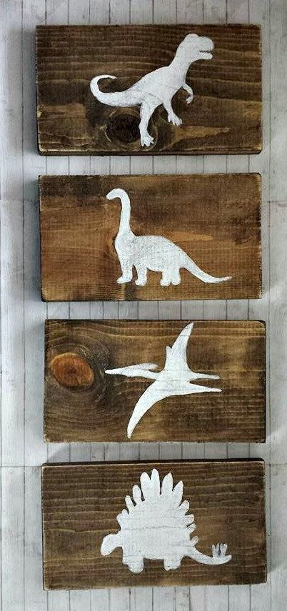 Dinosaur Wood Sign Set, Dinosaur Decor, Boys DInosaur Bedroom Decor, Dinosaur Sign, Dinosaur Wall Art, Baby Boy Nursery, Dinosaur Wood Signs is part of Kids bedroom Decoration - structure   All of our finished signs are sanded, hand stained, and hand painted  The wood underneath the paint may show through slightly in some places  They are also sealed with a clear coat to preserve them  Also, I use walnut stain, sometimes this will vary from the original picture due to reclaimed wood  kids bedroom décor,  baby boy nursery