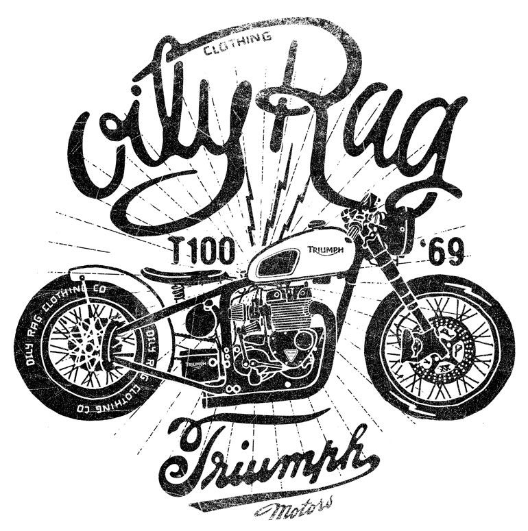 Triumph Motorbike Tee Arm Alex Ramon Mas Designs