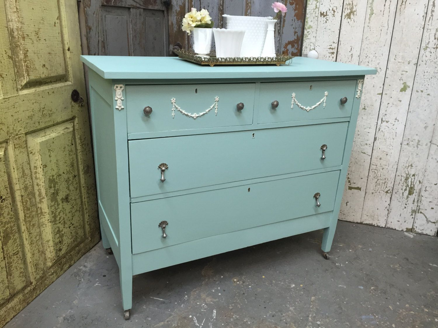 Vintage Chest of Drawers Blue Dresser Green Dresser Shabby Chic Dresser by VintageHipDecor (399.00 USD)