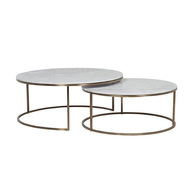 Elle nesting coffee tables white brass lounge for White nesting coffee table